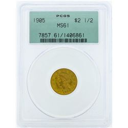 1905 $2 1/2 Liberty Head Quarter Eagle Gold Coin PCGS MS61