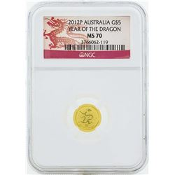 2012P $5 Australia Year of the Dragon Gold Coin NGC MS70
