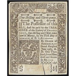 June 19, 1776 One Shilling Connecticut Colonial Currency Note