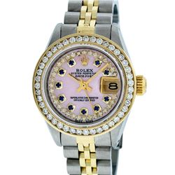 Rolex Ladies Two Tone 14KT Yellow Gold Sapphire and Diamond Datejust Wristwatch