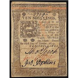 October 1, 1773 Ten Shillings Pennsylvania Colonial Currency Note