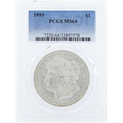 1893 $1 Morgan Silver Dollar Coin PCGS MS64