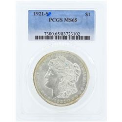 1921-S $1 Morgan Silver Dollar Coin PCGS MS65