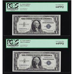 (2) Sequential 1935H $1 Silver Certificate Notes PCGS Very Choice New 64PPQ