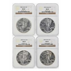 1986-1989 $1 American Silver Eagle Coins NGC MS69