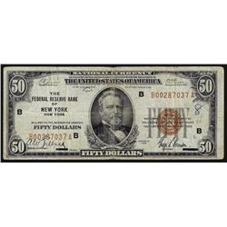 1929 $50 National Currency Note New York New York