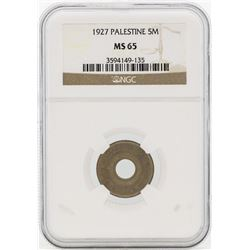 1927 Palestine 5 Mils Coin NGC MS65