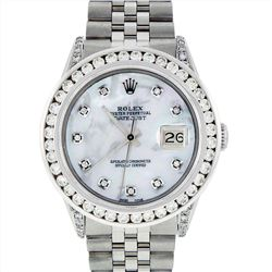 Rolex Stainless Steel 3.00ctw Diamond Datejust Mens Wristwatch