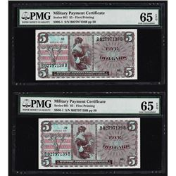 (2) Consecutive $5 Military Payment Certificates Series 661 PMG Gem Unc 65EPQ