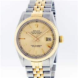 Gents Rolex Two-Tone Champagne Tapestry Index Dial Men's Wristwatch