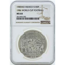 1985MO Mexico $100 Silver 1986 World Cup Football Coin NGC MS64