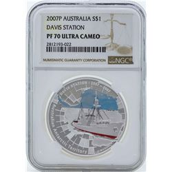 2007P $1 Australia Davis Station Proof Silver Coin NGC PF70 Ultra Cameo