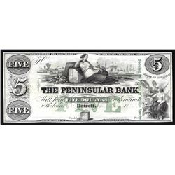 1800s $5 The Peninsular Bank Obsolete Bank Note