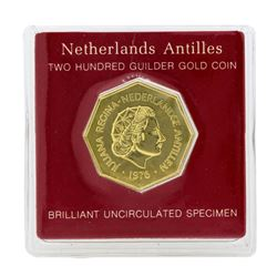 1976 Netherland Antilles 200 Guilder Gold Coin
