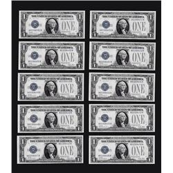 Lot of (10) Consecutive 1928 $1 Funnyback Silver Certificate Notes CU