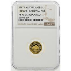 1987P $15 Australian Nugget Gold Coin NGC PF70 Ultra Cameo