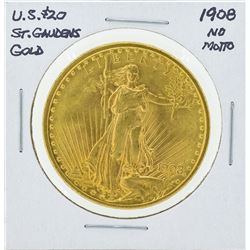 1908 No Motto St. Gaudens Double Eagle Gold Coin
