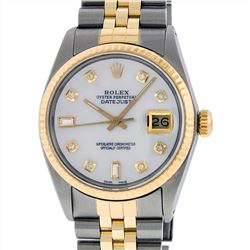 Rolex Men's Two Tone 14KT Yellow Gold Diamond Datejust Wristwatch