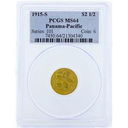 1915-S $2 1/2 Panama-Pacific Commemorative Gold Coin PCGS MS64