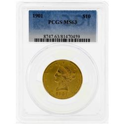 1901 $10 Liberty Head Eagle Gold Coin PCGS MS63