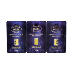 Set of (3) 0.5 Gram Istanbul Gold Refinery Cards