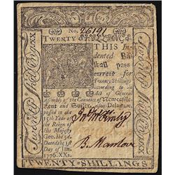 January 1, 1776 Delaware 20 Shillings Colonial Currency Note