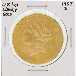 1907-D $20 Liberty Head Double Eagle Gold Coin