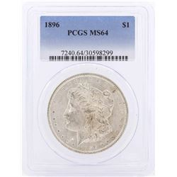 1896 $1 Morgan Silver Dollar Coin PCGS MS64
