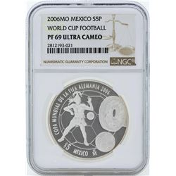 2006MO Mexico 5 Pesos World Cup Football Silver Coin NGC PF69 Ultra Cameo