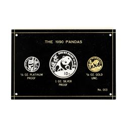 1990 Panda Premier Tri Metallic Coin Set