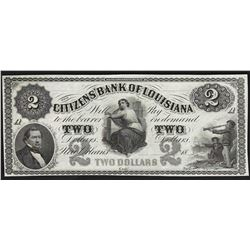 1800's $2 The Citizens Bank of Louisiana Obsolete Note