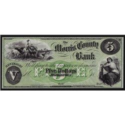 1800s $5 The Morris County Bank Obsolete Note