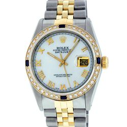 Rolex Men's Two Tone MOP Roman Sapphire and Diamond Datejust Wristwatch