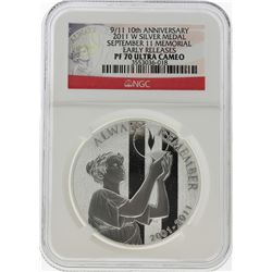 2011-W 9/11 10th Anniversary Silver Medal NGC PF70 Ultra Cameo Early Release