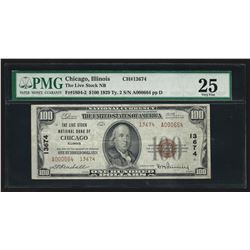 1929 $100 National Bank Chicago Note Charter # 13674 PMG VF25