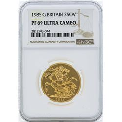 1985 Great Britain 2 Sovereign Gold Coin NGC PF69 Ultra Cameo
