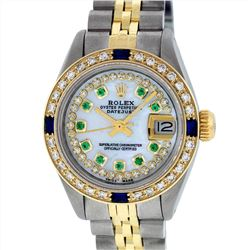 Rolex Ladies Two Tone 14KT Yellow Gold 0.70ctw Sapphire, Emerald, and Diamond Da