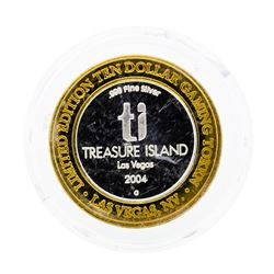 .999 Silver Treasure Island $10 Casino Gaming Token Limited Edition