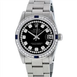 Rolex Midsize Stainless Steel Sapphire and Diamond DateJust Wristwatch