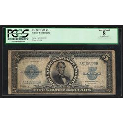 1923 $5 Porthole Silver Certificate Note PCGS Very Good 8 Apparent