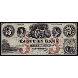 1852 $3 The Eastern Bank West Killingly Connecticut Obsolete Bank Note