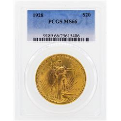 1928 $20 St. Gaudens Double Eagle Gold Coin PCGS MS66