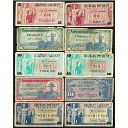 Lot of (10) Assorted Military Payment Certificate Notes