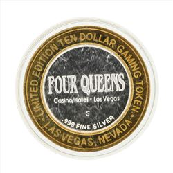 .999 Silver Four Queens Hotel and Casino Las Vegas $10 Casino Gaming Token Limit
