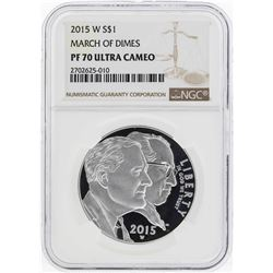 2015-W $1 March of Dimes Commemorative Silver Coin NGC PF70 Ultra Cameo