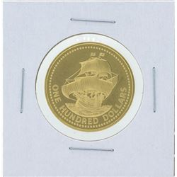 1975 $100 Barbados 350th Anniversary Gold Coin