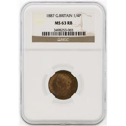 1887 Great Britain 1/4 Penny Coin NGC MS63RB