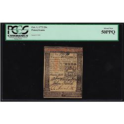 October 1, 1773 Pennsylvania 20 Shillings Currency Note PCGS About New 50PPQ