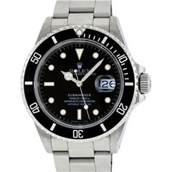 Rolex Stainless Steel Black Dial Date Submariner Mens Wristwatch