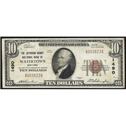 1929 $10 Watertown New York National Currency Note